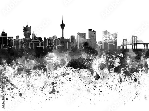macau-skyline-in-watercolor-on-white-background