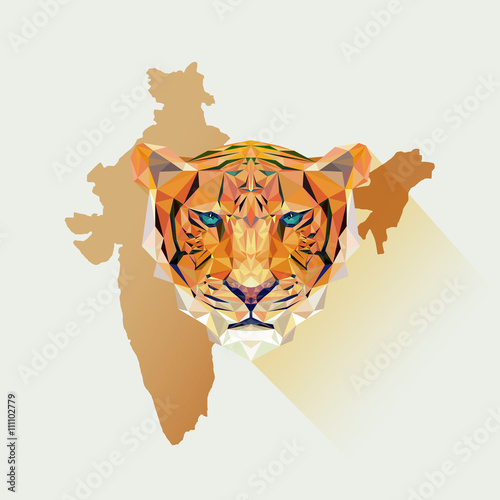 Tiger illustration in polygonal style Wallpaper Mural