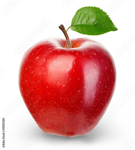 Fotografie, Obraz  Ripe red apple isolated on a white background.