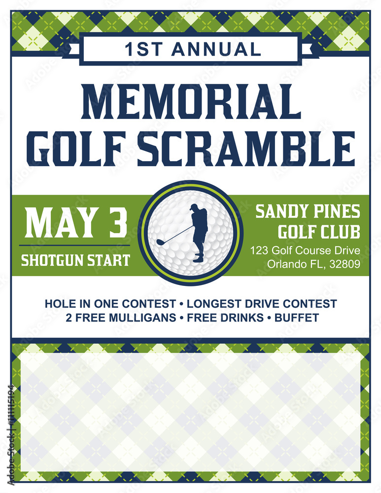 Golf Tournament Flyer Template | Golf Tournament Flyer Template Foto Poster Wandbilder Bei Europosters