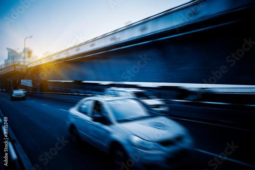 Fototapeta motion blurred traffic on bridge,chongqing china. obraz na płótnie