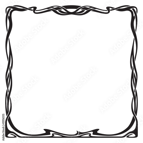 Fotografía  Decorative black square frame in art-nouveau style.