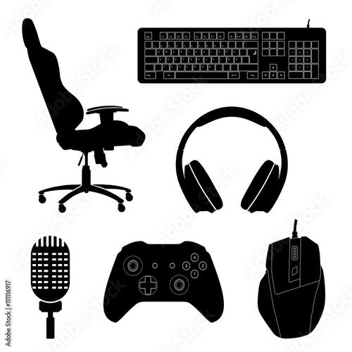 Gaming Zubehör Icons Schwarz Canvas Print