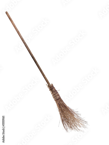 Besom - witch's broom isolated on white. Wallpaper Mural
