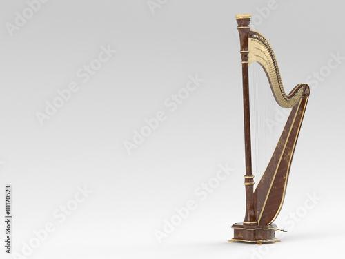 Fotografía Harp aged on white 3D rendering