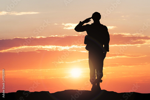 Fotografie, Tablou Soldier Saluting During Sunset