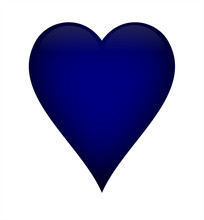 Navy Blue Heart, Isolated Over A White Background.