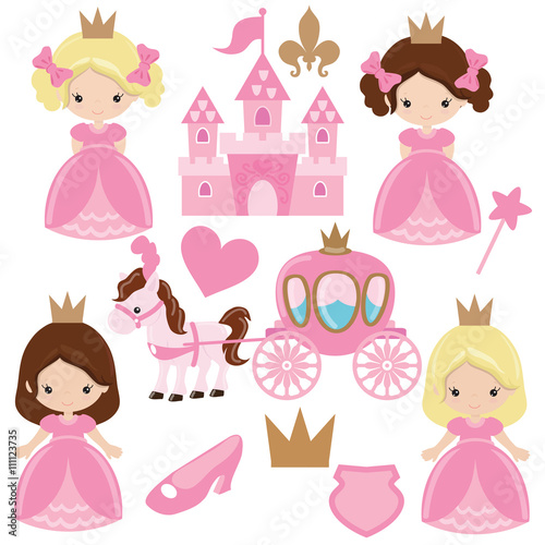 Cute princess vector illustration Fototapet