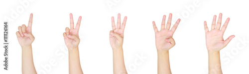 Valokuvatapetti counting woman hands sign isolated on white background