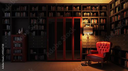 Частная библиотека ночной вид 3d Wallpaper Mural