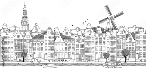 Photo  Seamless banner of Amsterdam's skyline, hand drawn black and white illustration