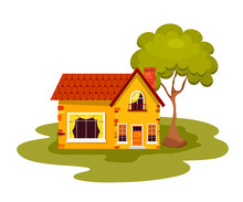 Yellow Stone House With Green Tree On A White Background. Countr