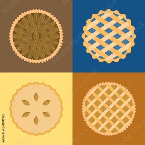 Pie icon set, pecan, blueberry , apple, potato, flat design, set 1 Canvas Print