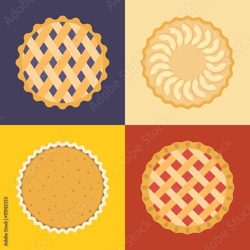 Photo  Pie icon set, raspberry, cherry, blackcurrant, apple, pumpkin, flat design, set