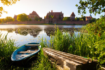Malbork castle morning at dawn