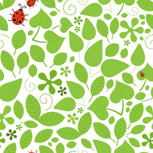 Leaves And Ladybirds Seamless Vector Pattern