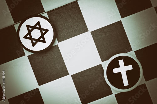 Draughts (Checkers) - Judaism vs Christianity - religious tension and conflict b Canvas Print