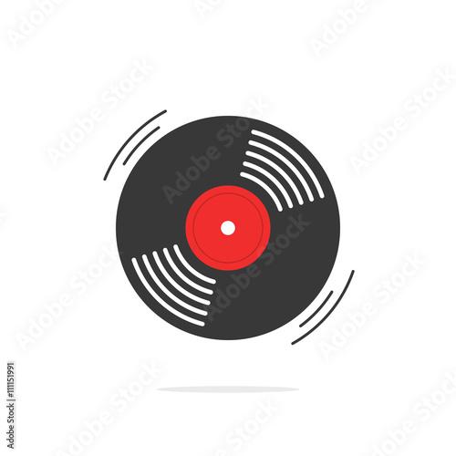 Fotografía  Vinyl record vector icon, gramophone record symbol, rotating record vinyl disc,