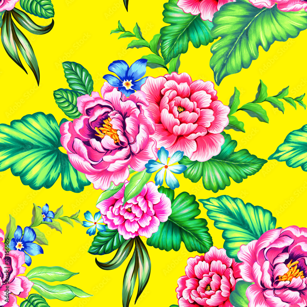 Colorful Mexican floral pattern