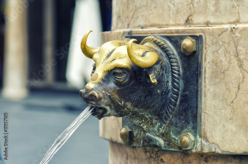 Teruel, Spain. El Torico fountain in Plaza Carlos Castel. Closeup of the fountain with metal bull head.