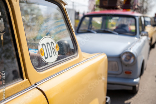 DDR Schild an deutschem Trabant Canvas Print