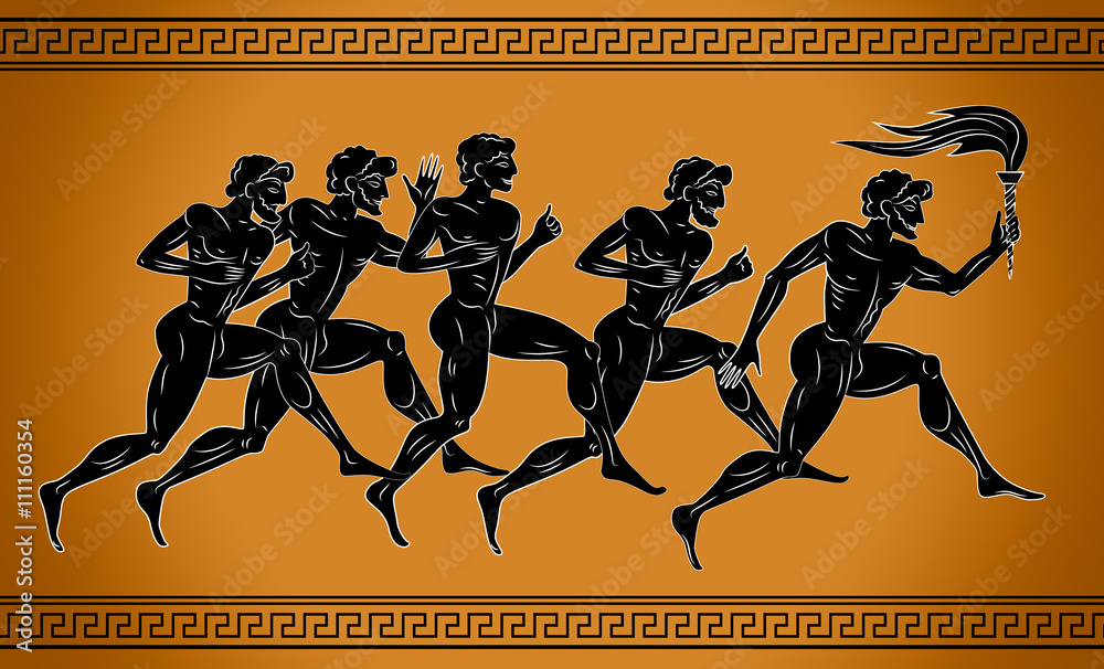 Fototapeta Black-figured runners with the torch. Illustration in the ancient Greek style. Sport concept illustration.
