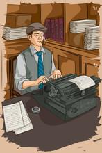 Retro Man Writing With Typewri...