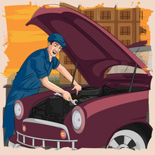 Retro Man Repairing Car In Garage