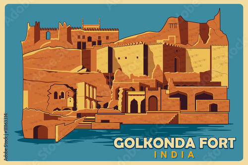 Vintage poster of Golkonda Fort in Hyderabad famous monument of India Wallpaper Mural