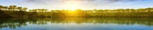 Sunset On The Lake, Panorama, Banner, 3D Rendering