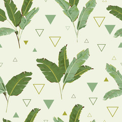 Panel Szklany Egzotyczne Seamless Pattern. Tropical Palm Leaves Background. Banana Leaves