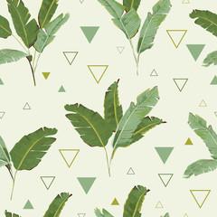 Fototapeta Egzotyczne Seamless Pattern. Tropical Palm Leaves Background. Banana Leaves