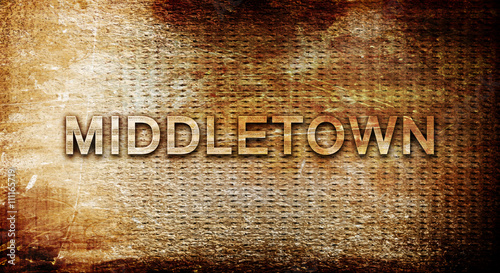 Photo  middletown, 3D rendering, text on a metal background