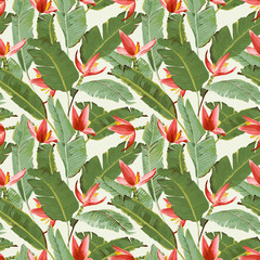 Seamless Pattern. Tropical Palm Leaves and Flowers Background.
