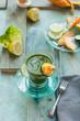 bevanda detox alla verdura, con melone e limone