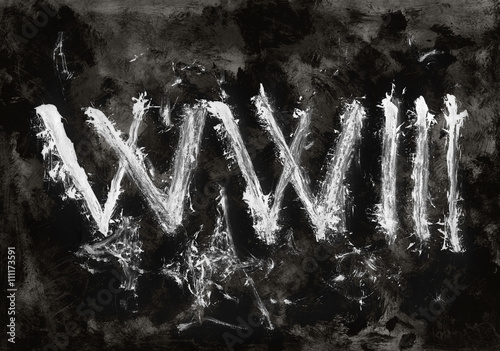 Canvastavla Text WW3 on dark grunge background