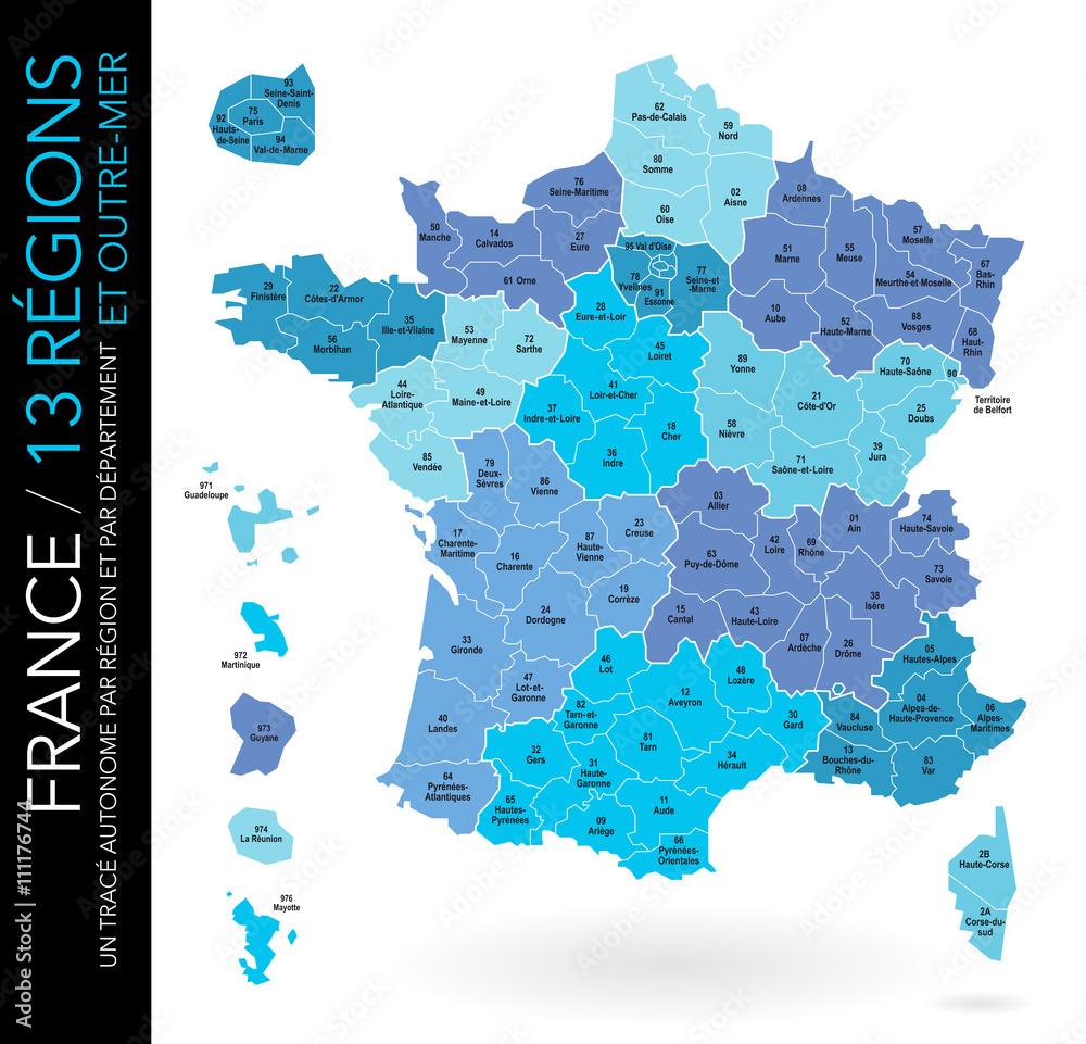 Fototapeta Carte de France / 13 régions et outre-mer avec départements, numéros et chefs-lieux / Un tracé autonome par zone)