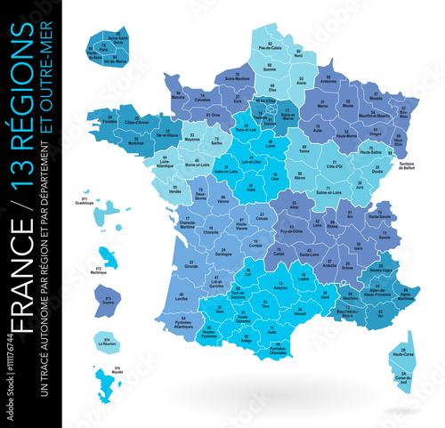 Fotografie, Obraz  Carte de France / 13 régions et outre-mer avec départements, numéros et chefs-li