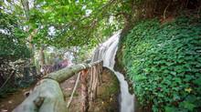 Long Exposure Of Waterfall And Track At Monasterio De Piedra