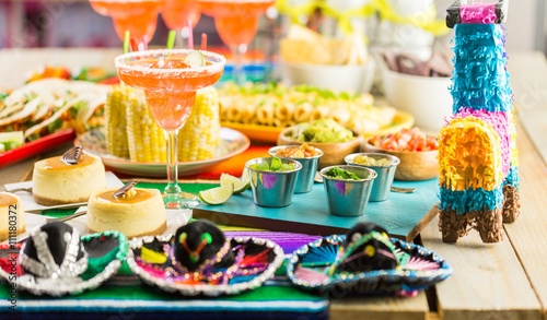 Ingelijste posters Buffet, Bar Fiesta buffet table