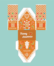 Printable Gift Gingerbread House With Christmas Glaze Elements. Template For 3 D House.
