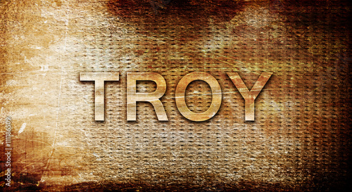 Fototapeta troy, 3D rendering, text on a metal background