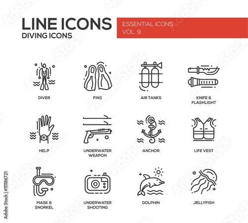 Scuba Diving line design icons set Wall mural