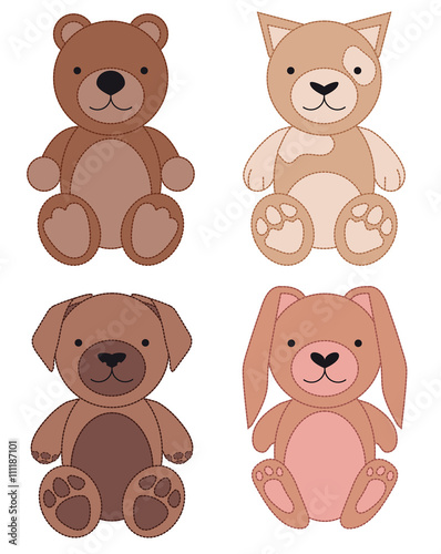 Wall Murals Bears Set of animal toys