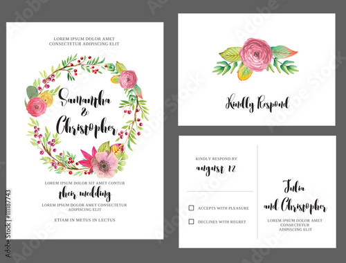 Fotografía  Watercolor Wedding Invitation Card