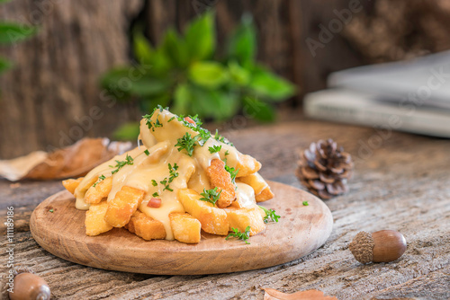french fries with cheese on wooden