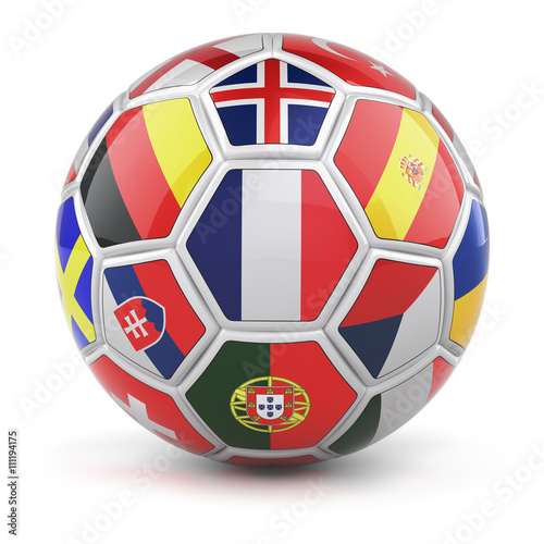 фотография Soccer ball with flags of qualified nations teams for Euro 2016 and french flag