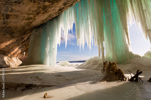 Sea Cave behind ice curtains at Grand Island on Lake Superior near Munising Michigan