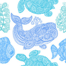 Sea Turtle, Whale, Water Plant...