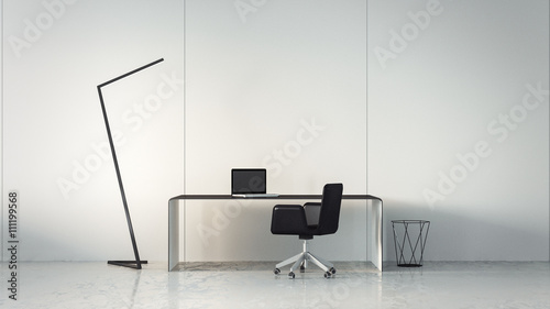 Leinwanddruck Bild - tontectonix : Minimal Working Room Black and White / 3D Rendering Interior